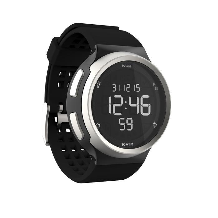 Montre chronomètre de course à pied homme W900 noire reverse - 1139460