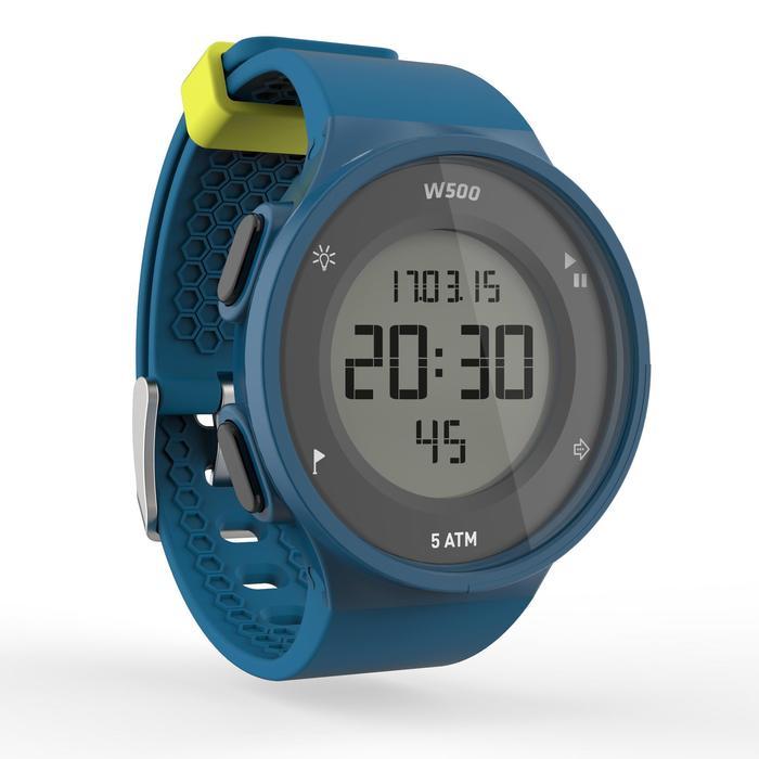 Montre chronomètre de course à pied homme W500 M noire reverse - 1139651