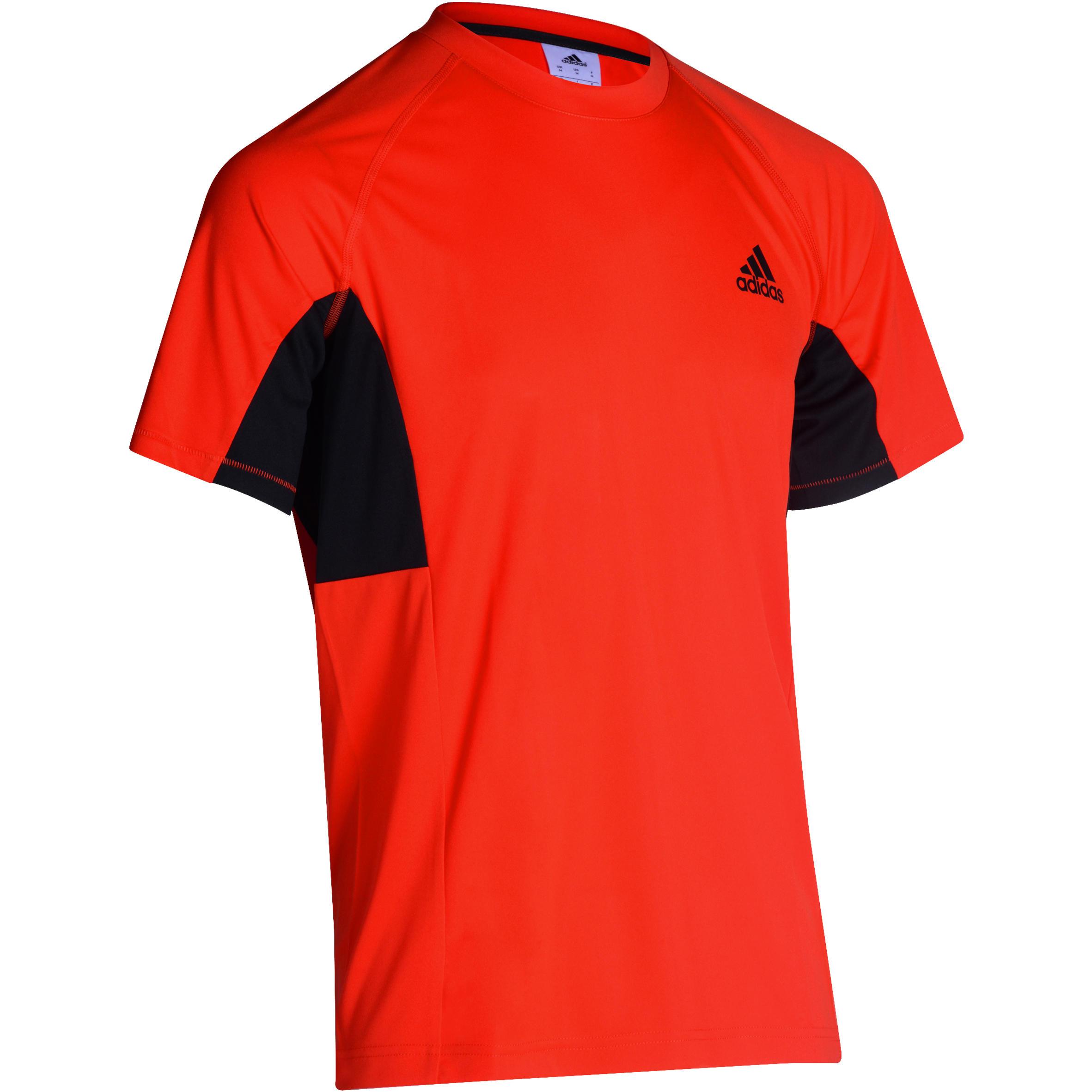 T-shirt fitness voor heren oranje zwart