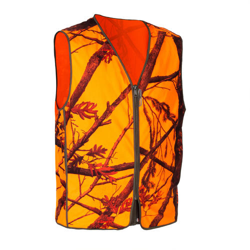 GILET DE CHASSE COMPACT SILENCIEUX CAMOUFLAGE FLUO