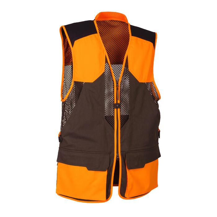 Gilet chasse 520 marron fluo - 1139964