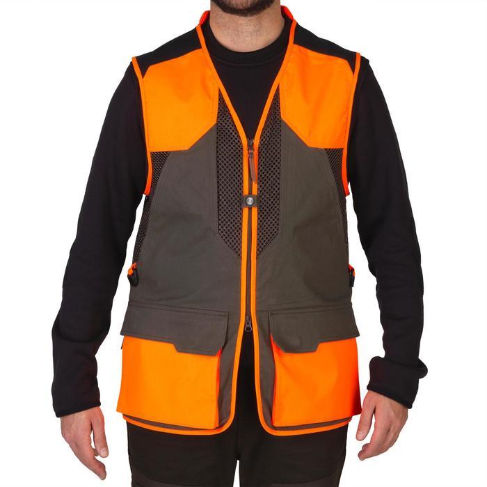 Gilet chasse 520 marron fluo - 1139979