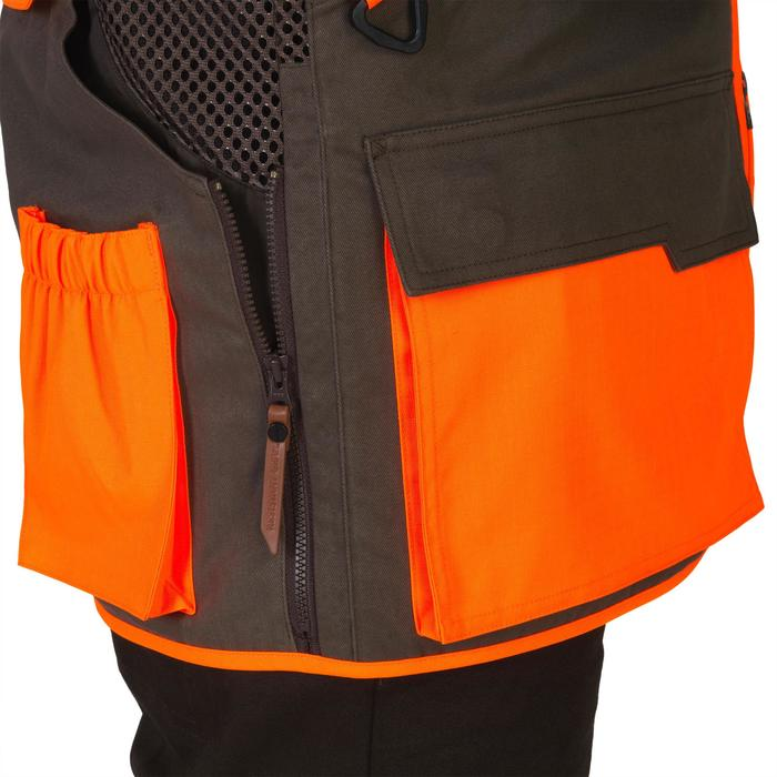 Gilet chasse 520 marron fluo - 1139980