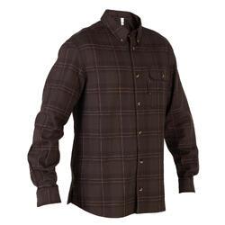 Overhemd 100 met lange mouwen voor de jacht bruin