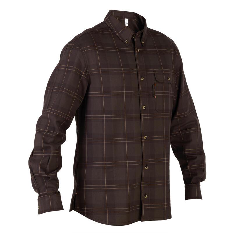 Camisa Caza Solognac Sg 100 Hombre Manga Larga Cuadro Marron