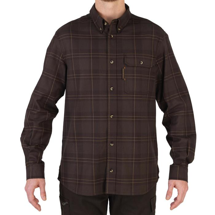 Chemise manches longues chasse 100 marron