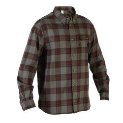 Camisa de Caça Quente e de Manga Comprida 500 Xadrez Verde