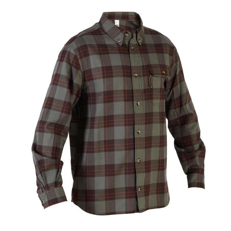 Camisa Caza Solognac Sg 100 Hombre Manga Larga Cuadro Verde