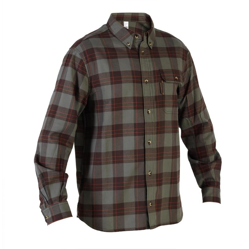 Warm overhemd met lange mouwen voor jagen 500 geruit groen