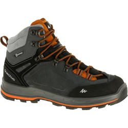 WATERPROOF MOUNTAIN TREKKING BOOTS - TREK100 - BLACK/ORANGE - MEN