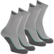 2 pares calcetines de travesía naturaleza calcetín alto adulto Arpenaz 50 Gris