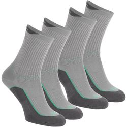 Calcetines de senderismo en naturaleza caña alta. 2 pares Arpenaz 100 gris verde