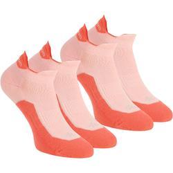 Calcetines de senderismo en naturaleza caña baja. 2 pares Arpenaz 100 rojo coral