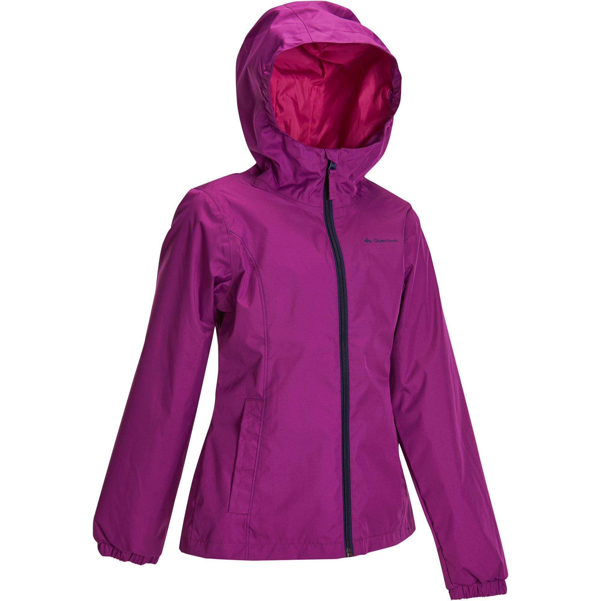 Hike 500 Girls Waterproof Hiking Jacket Purple