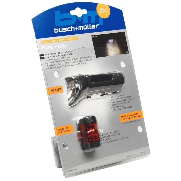 Fahrradbeleuchtung Set Front-/Rücklicht Busch&Müller Fyre + Ixxi USB LED 30 LUX