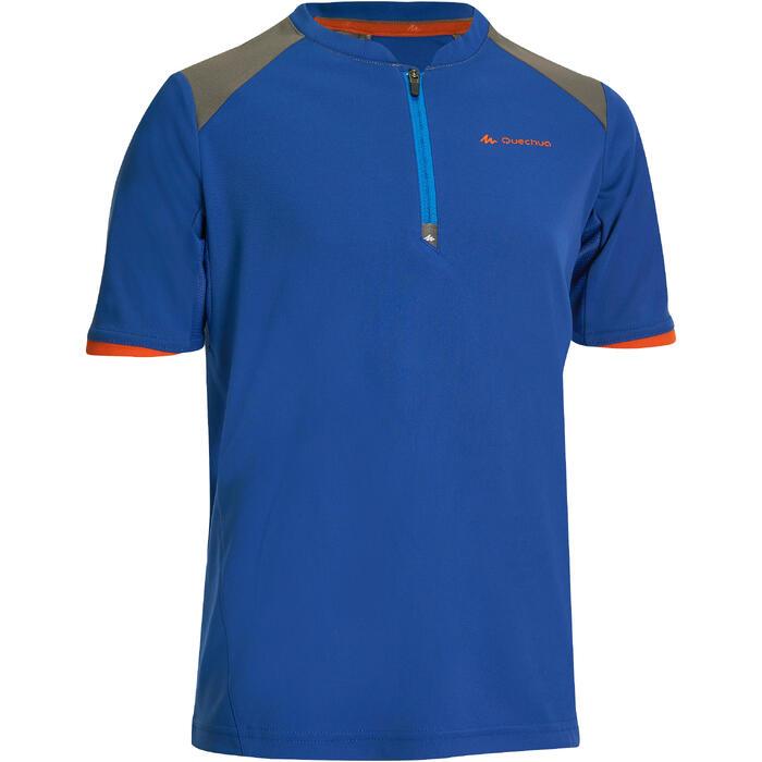 Camiseta Manga Corta de Montaña y Trekking Forclaz MH550 Niños Azul