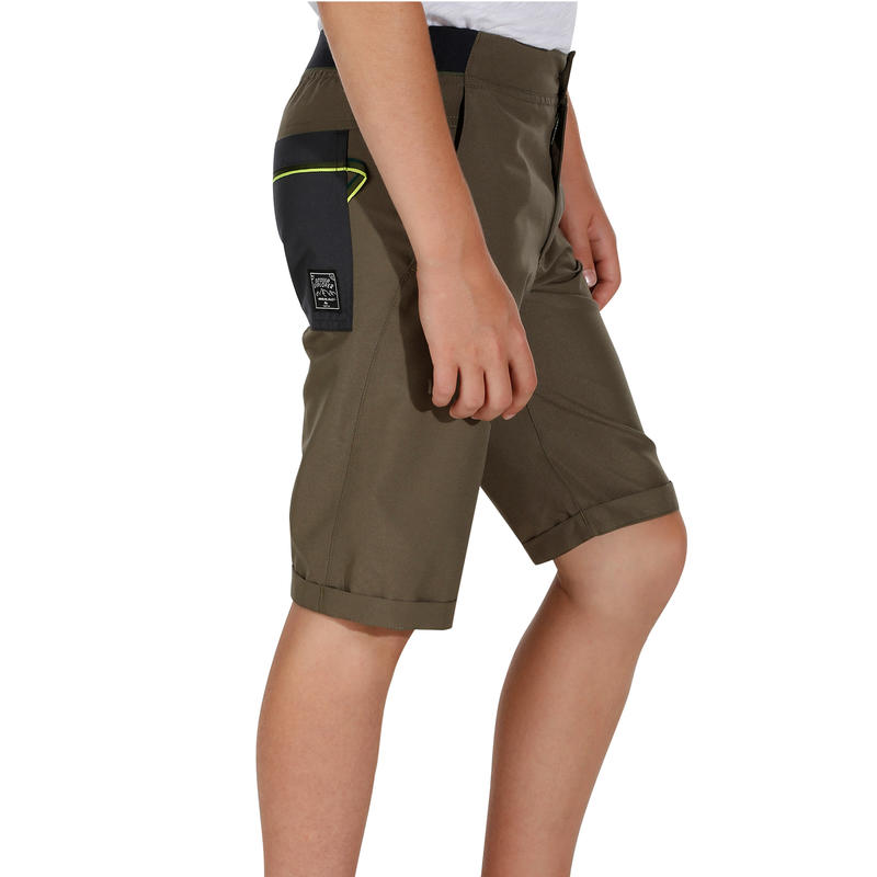 Short de randonnée enfant Hike 100 vert kaki