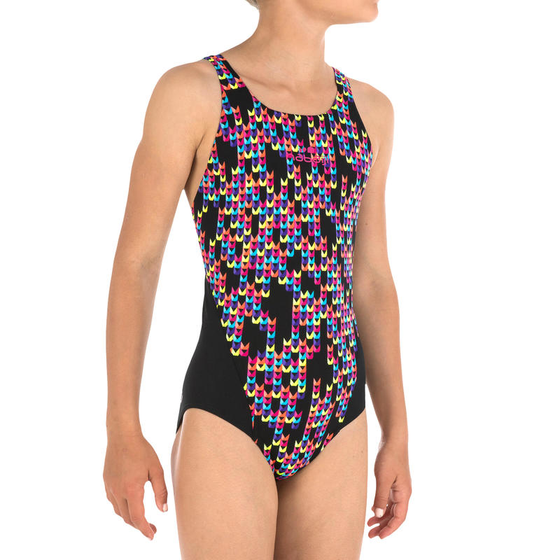 Girl Swimming costume V- cut - Black with print