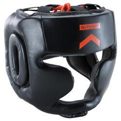 成人全罩式拳擊頭盔500 - 黑色