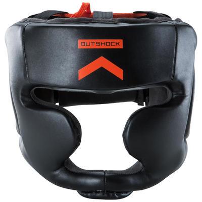 500 Adult Boxing Full Face Training Head Guard - Black