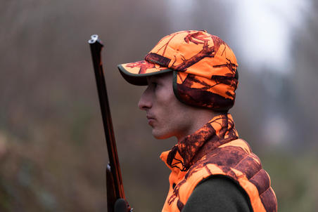 HUNTING CAP WITH EAR FLAPS CAMOUFLAGE ORANGE