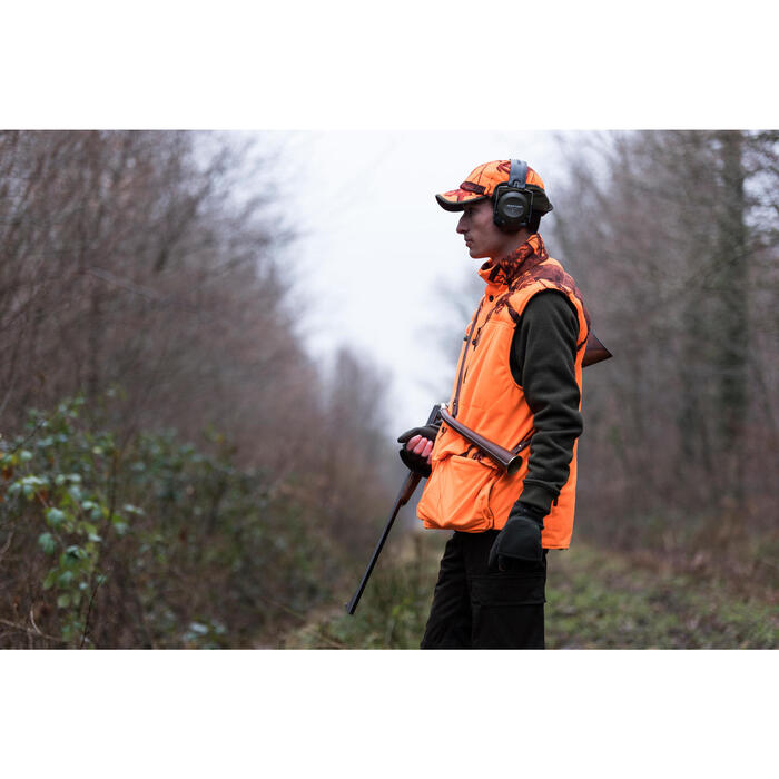 Gilet chasse chaud 500 camouflage fluo - 1142487