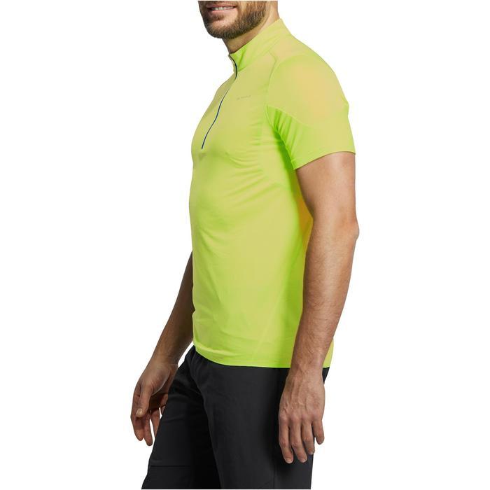 Camiseta de manga corta de senderismo rápido hombre FH500 Helium Verde anís
