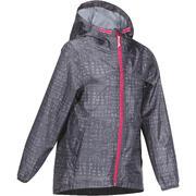 Siva vodoodporna pohodniška jakna s potiskom MH150 za deklice
