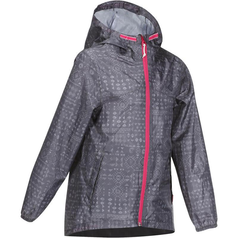 Veste imperméable de randonnée - MH150 imprimée grise tribal - enfant 7-15 ans