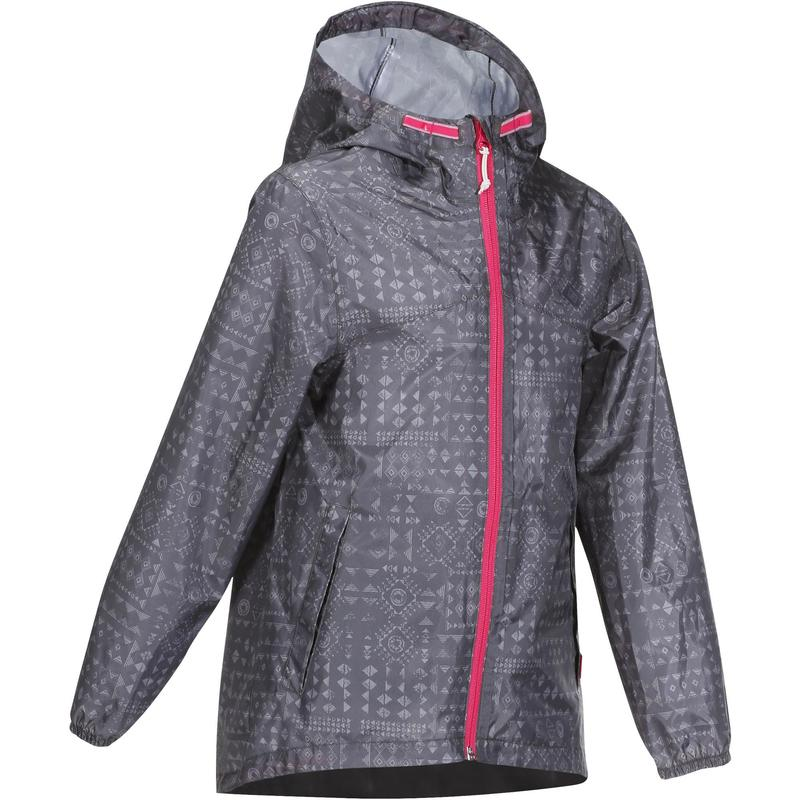 Kids Waterproof Hiking Jacket - MH150 - Grey Tribal