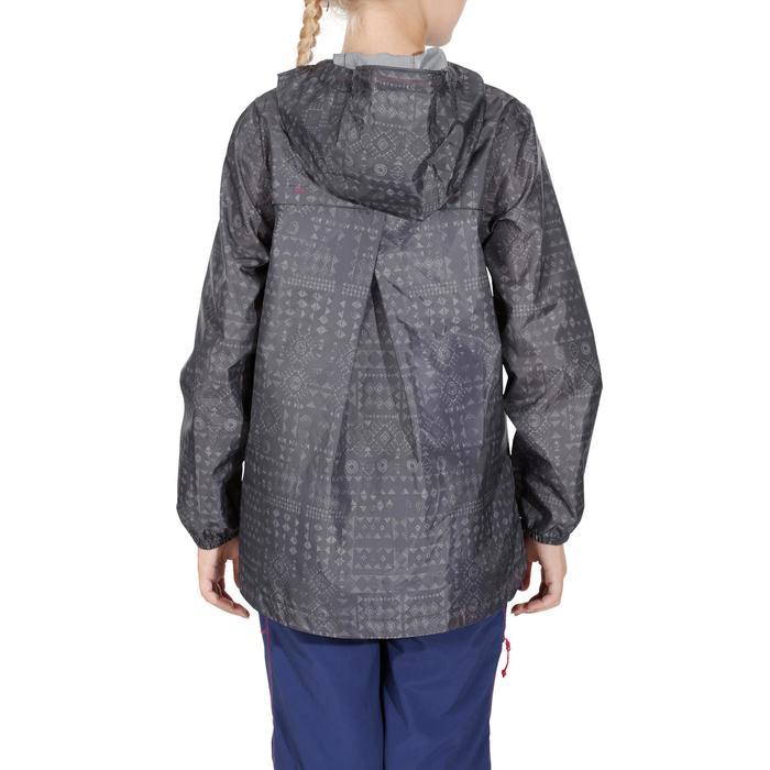 Veste imperméable de randonnée enfant MH150 imprimée grise tribal 7 A 15 ANS