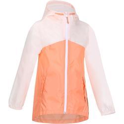 Regenjack Hike 150 voor meisjes, voor wandelen pastel/roze