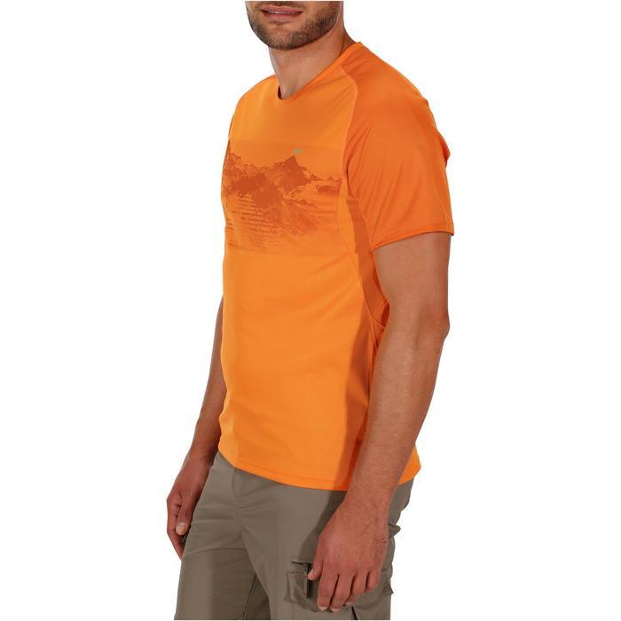 Wandel T-shirt met korte mouwen voor heren Tech Fresh 100 oranje motief bergen