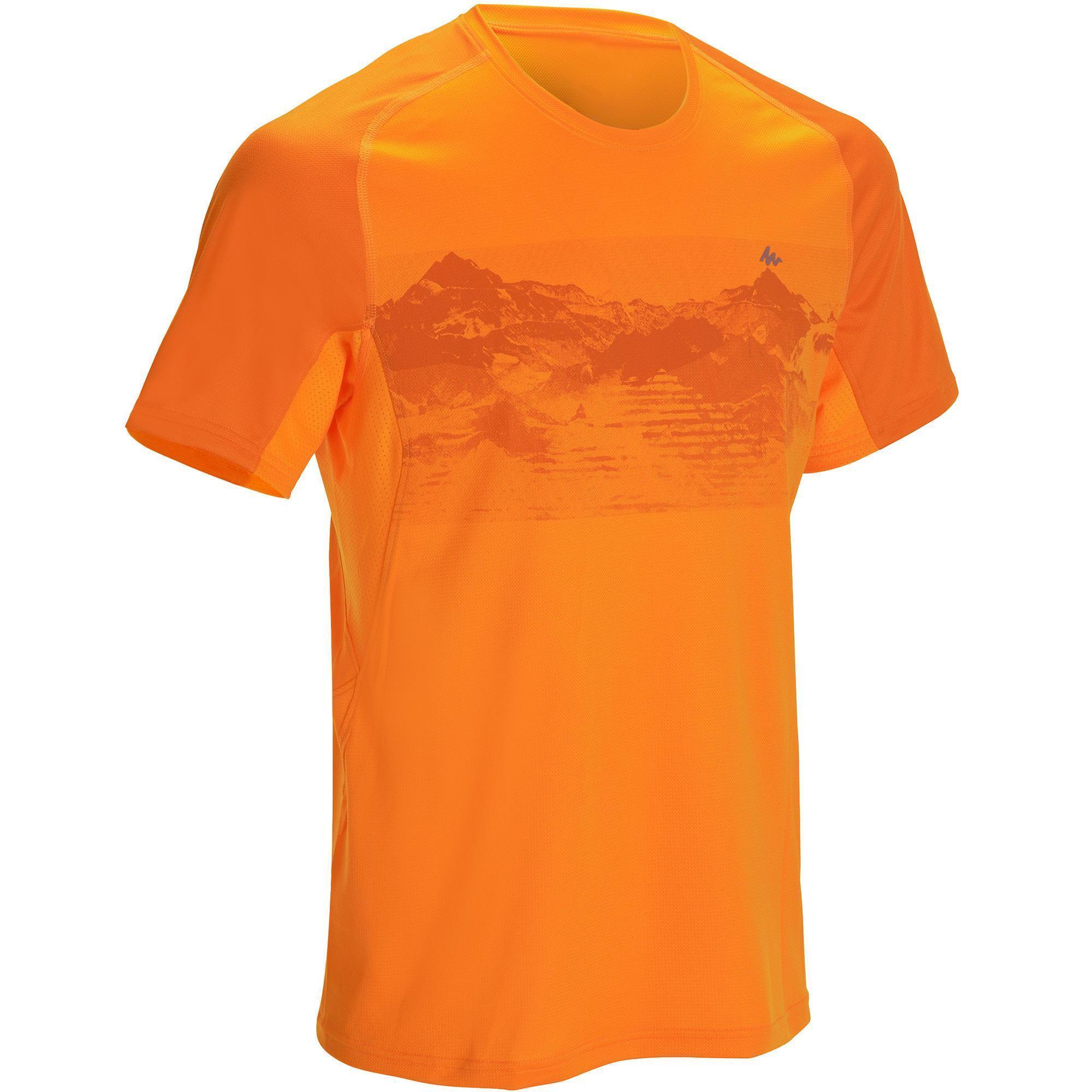 Tech Frech 100 Men 39 S Short Sleeve Hiking T Shirt Orange