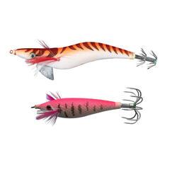 Onderlijnset met 2 squid jigs voor zeekat / pijlinktvis