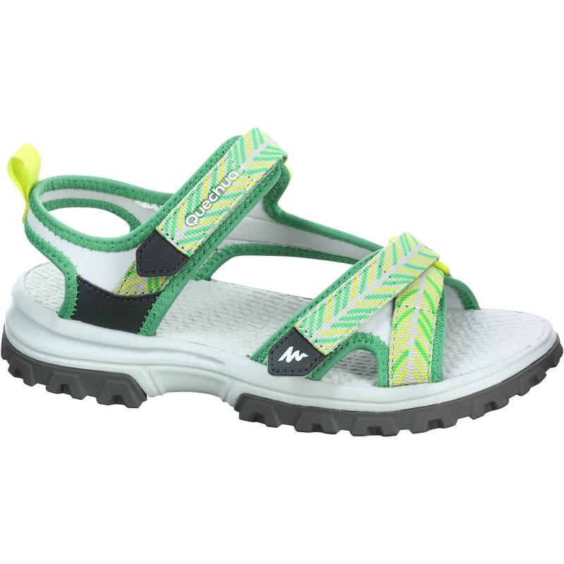 DÍVČÍ TURISTICKÉ SANDÁLY Turistika - SANDÁLY MH 120 ŽLUTÉ QUECHUA - Turistická obuv