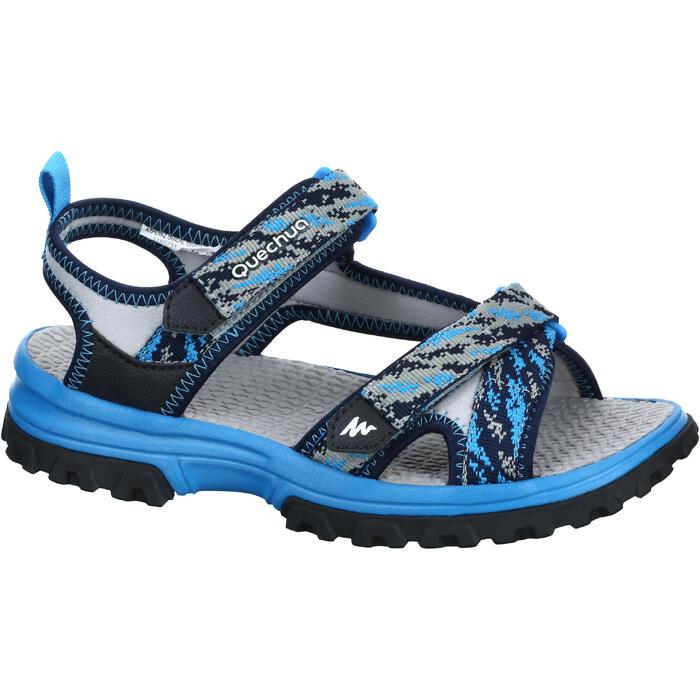 兒童款健行涼鞋MH120-藍色圖案