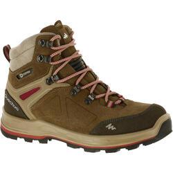 Hoge waterdichte trekkingschoenen voor dames Trekking 100 Ontrail leer bruin