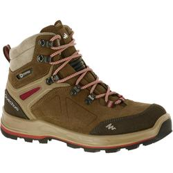 WATERPROOF MOUNTAIN TREKKING BOOTS - TREK100 - BROWN - WOMEN