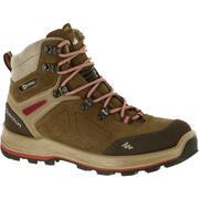 Women's High Waterproof Leather Boots Trekking 100 Ontrail - Brown
