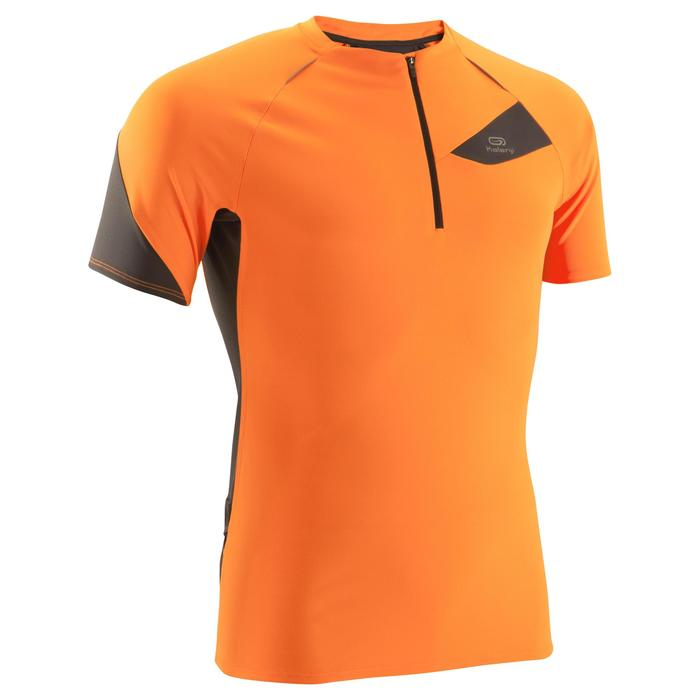 Tee shirt manches courtes trail running gris jaune homme - 1144666