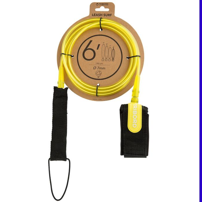 Leash surf 6' (183 cm ) diamètre 7mm jaune