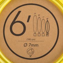 Leash surf 6' (183 cm ) diamètre 7mm jaune
