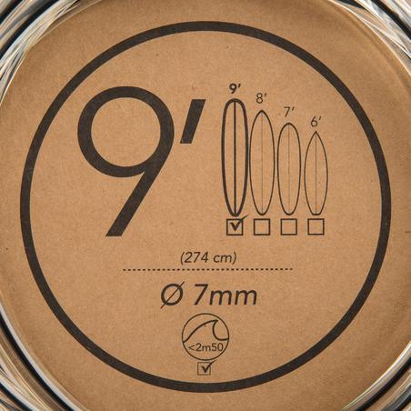 Tali Papan Selancar Diameter 7 mm ukuran 9' (275 cm) - Hitam