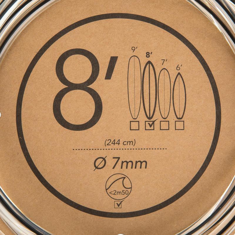 7 mm Surfboard Leash 8' (240 cm) - Black