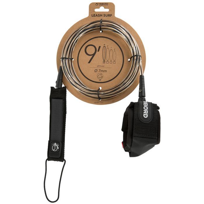Leash voor longboard 9' (275 cm) diameter 7 mm zwart - 1144994