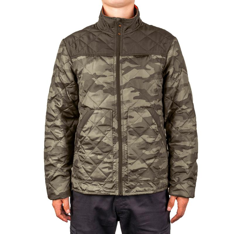Quilted Hunting Jacket 100 Camouflage Green Solognac
