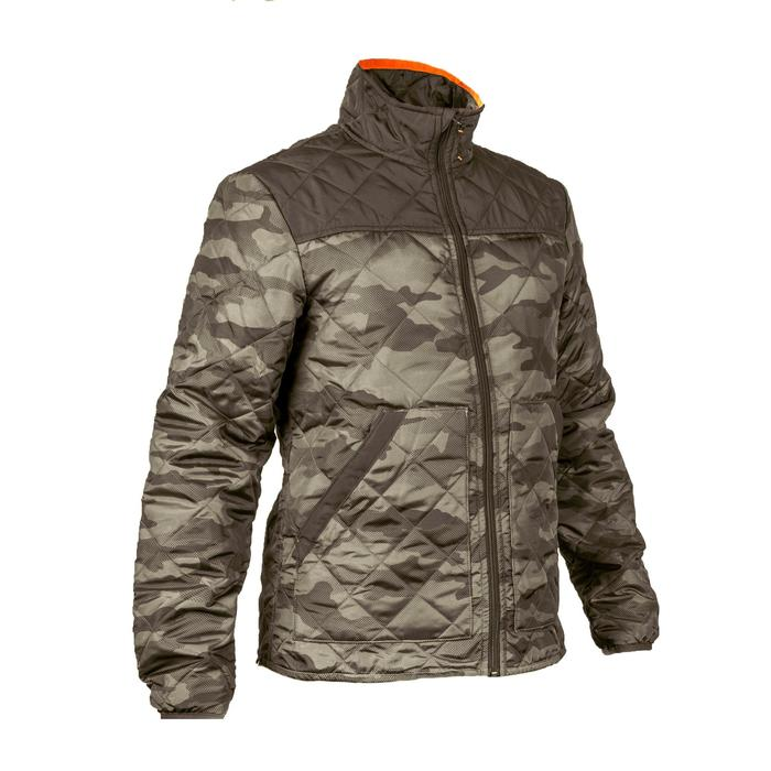 Quilted hunting jacket 100 - camouflage green - 1145005