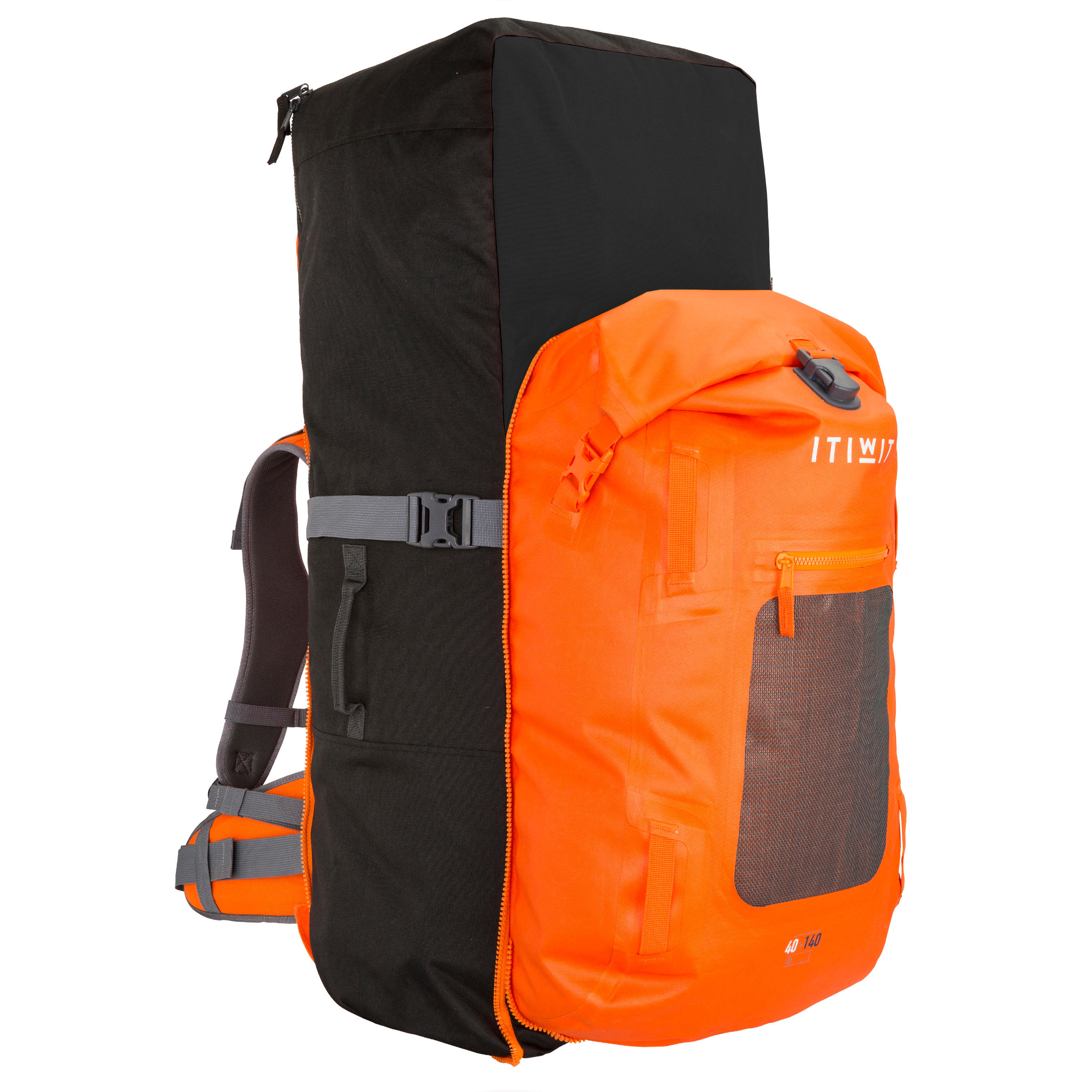 500 Touring Stand Up Paddle Watertight Backpack 100L + 40L - Orange