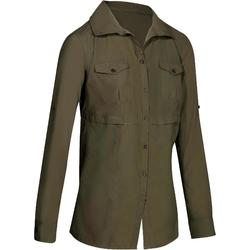 Shirt Trekking Arpenaz 500 Long-sleeved Women's - Khaki